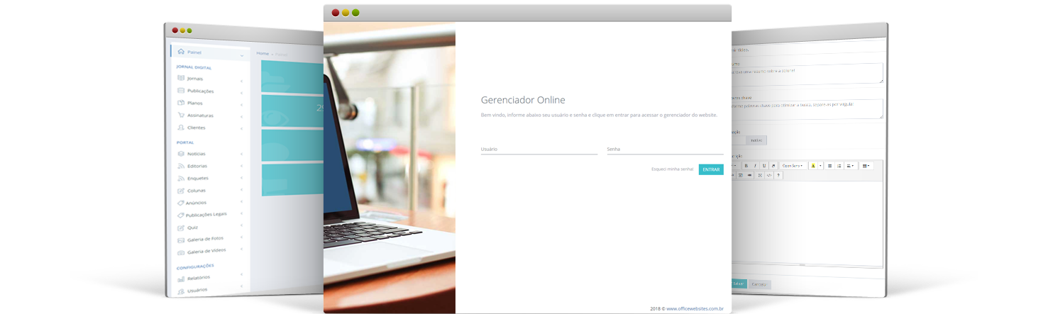 Gerenciador de Website Online Office Websites